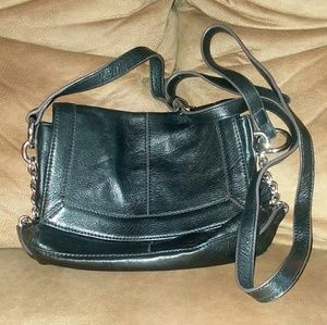B Makowsky Black Leather Crossbody Bag